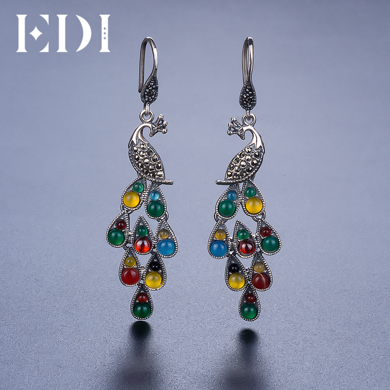 цены EDI Colorful Precious Stone Womens Long Earings Fashion Jewelry Phoenix Peacock Feather With Bohemian Ethnic Style From India