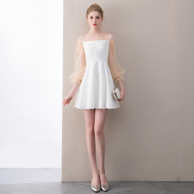 540ca2e1b4 Aliexpress.com   Buy SSYFashion New Simple Short Cocktail Dress White Mini  Long Sleeved Party Gown Banquet Elegant Formal Dresses Robe De Soiree from  ...