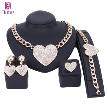 Wedding Jewelry Statement Crystal Rhinestones Necklace Earrings Jewelry Set Heart Shape Bridal Jewellery Gold/silver Color