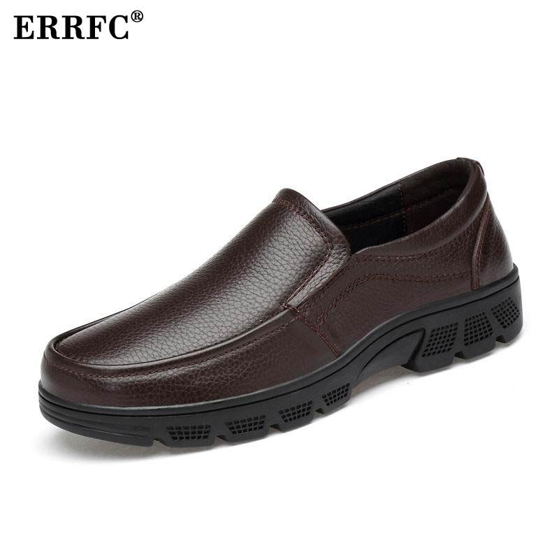 ERRFC New Arrival Men Brown Dress Shoes Fashion Round Toe Slip On Office Career Trending Leisure