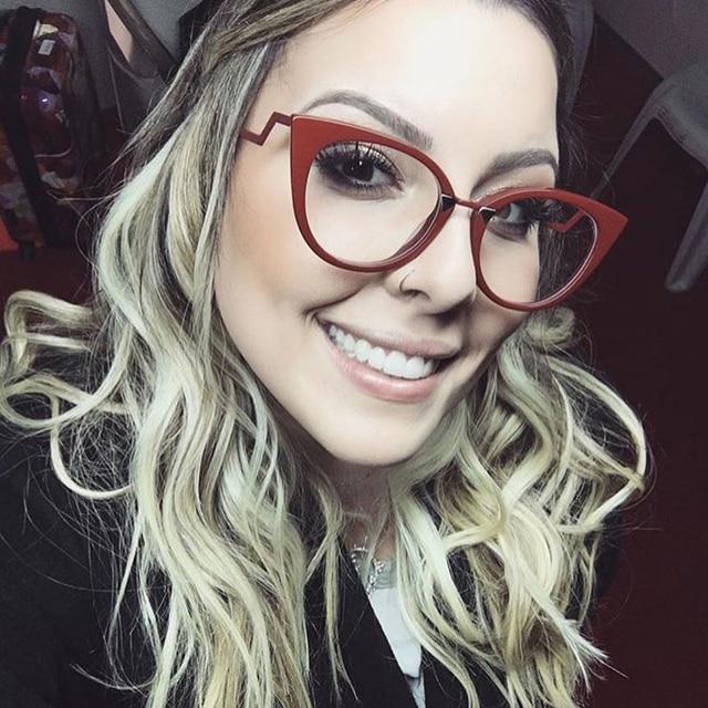 b109f5daa3530 Moda Olho de Gato Lente Clara Óculos de Armação Designer Armações de Óculos  de Miopia Feminino