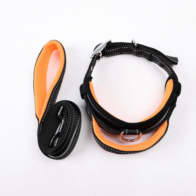 Dog Collar Leash Set Mesh Breathable Adjustable Collars S/M/L Nylon High quality strong handle traction Leash Dogs accessories
