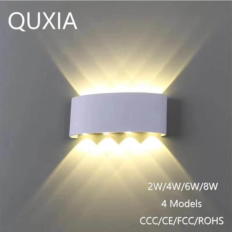 북유럽 벽 램프 Led 알루미늄 옥외 실내 Ip65 아래로 백색 까만 현대 가정 계단을 위해 침실 머리맡 목욕탕 빛
