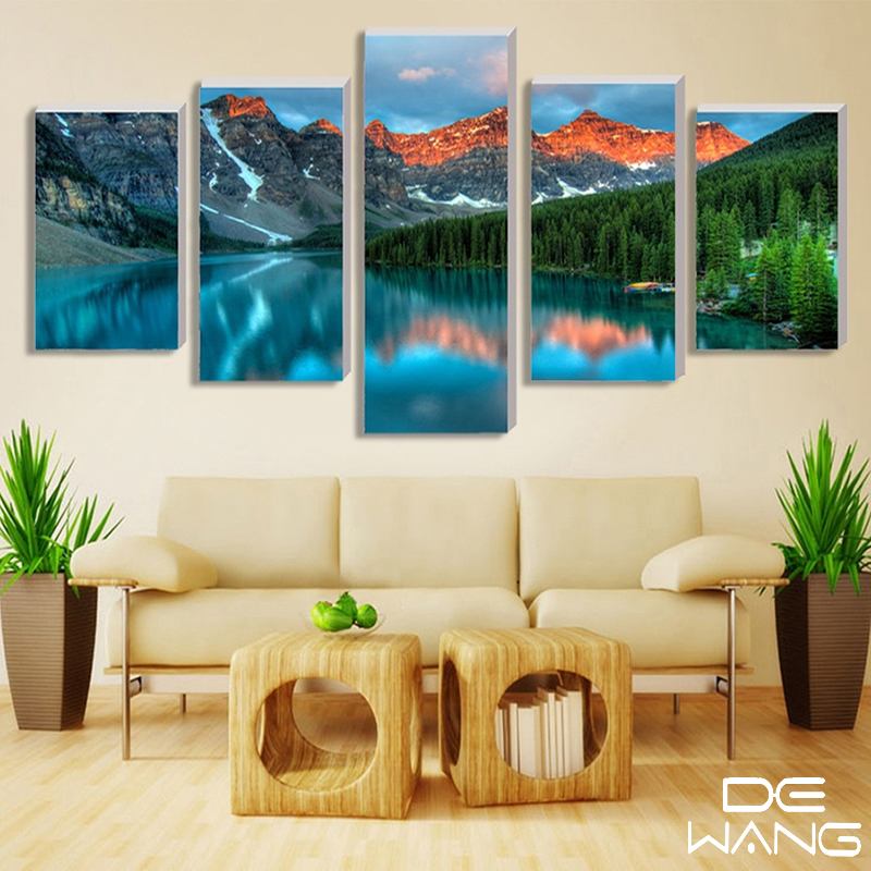 5 pieces printed snow alps mountain landscape picture oil for Home decoration pieces