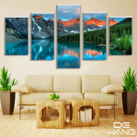 5 Pieces Printed Snow Alps Mountain Landscape Picture Oil Painting Set For Wall Home Decoration Living Room Canvas Art Print
