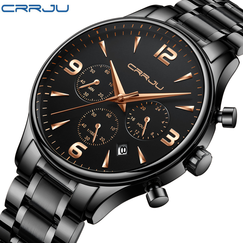 CRRJU Mens Watches Top Brand Luxury Fashion Business Quartz Watch Men Sport Full Steel Waterproof Black Clock relogio masculino crrju mens black stainless steel band luxury quartz clock male casual business calendar waterproof wristwatch relogio masculino