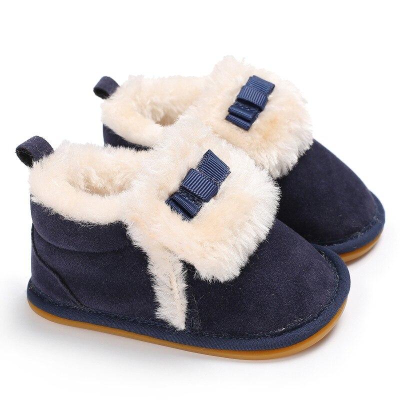 Baby Boys Girls First Walker 2018 Winter Warm Cute Bowknot Cashmere Soft Bottom Prewalker Baby Fur Shoes