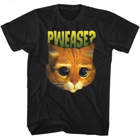 fbf9a4566 Shrek Puss In Boots Cat Face Pwease Adult T Shirt Kids Movie-in T ...