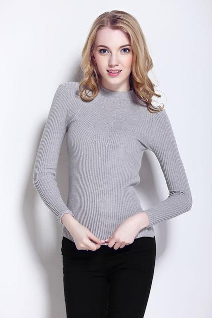 New 2016 Cashmere Sweater Women Spring Cashmere Pullovers Long Sleeve half turtleneck sweater Slim Knitwear