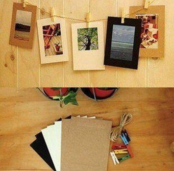 7pcslot new cute colorful hang paper photo frame set fine album with hemp rope
