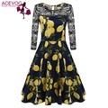 ACEVOG Spring  Vintage Style Swing Dress Women's Lace Crochet Patchwork 3/4 Sleeve Floral Tea Stretchy Party Dress Navy Blue