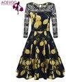 Acevog primavera estilo swing dress das mulheres do vintage rendas de croché patchwork 3/4 manga chá floral stretchy party dress azul marinho