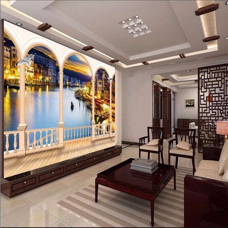 beibehang ciudad de venecia edificio puerta de noche simple foto wallpaper for living room pared