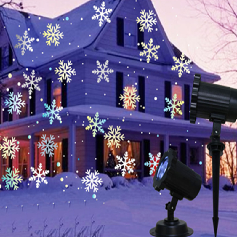 White snowflake projector christmas lights outdoor Garden path Lamp Waterproof Landscape Light Outdoor Home Decorative Lamp cka1012 christmas bell snowflake bow pattern bedroom decorative sticker red golden white