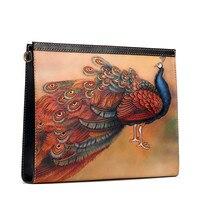 Оригинальный настройки Для женщин Сумки Пояса из натуральной кожи Вырезка Павлин mahamayuri Сумки конверт растительного дубления кожи сцеплени