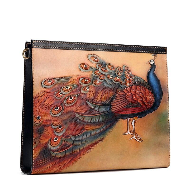 Personnalisation originale femmes sacs à main en cuir véritable sculpture paon Mahamayuri sacs enveloppe cuir tanné végétal embrayage