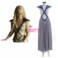 Daenerys Targaryen Dress Game of thrones Season 5 Halloween Cosplay Costume Women Long Sexy Dress