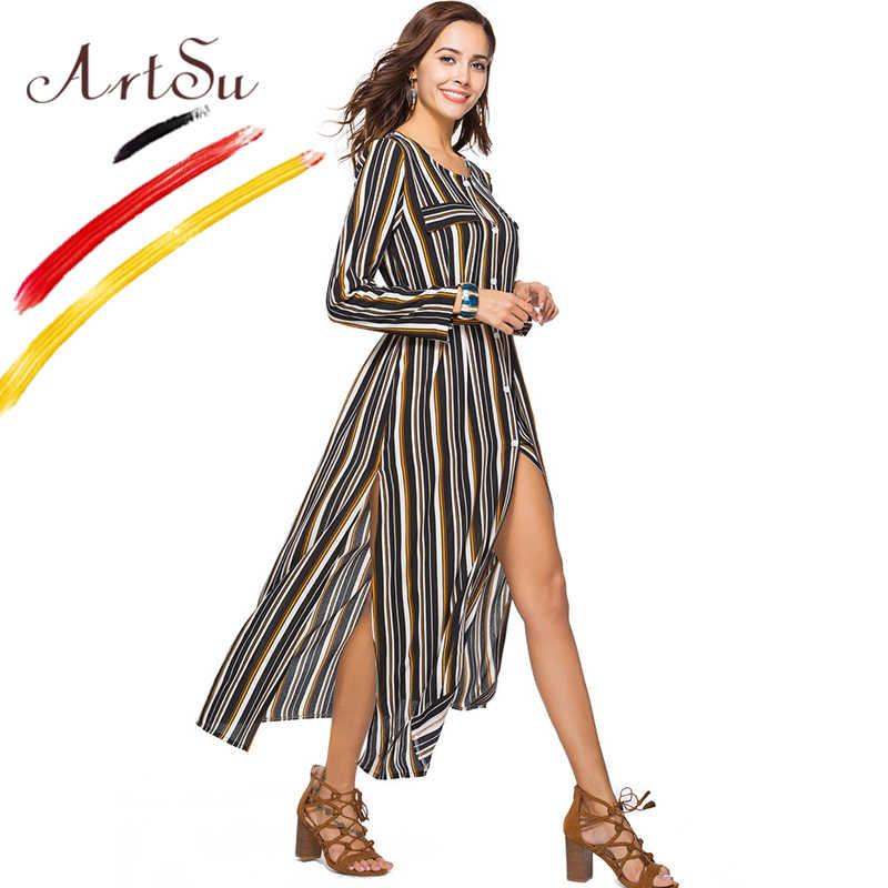 ArtSu Korte O-hals Lange Mouw Maxi Jurk Lente 2018 Mode Knop Gestreepte Jurken Vrouwen Sexy Split Chiffon Jurk Robe