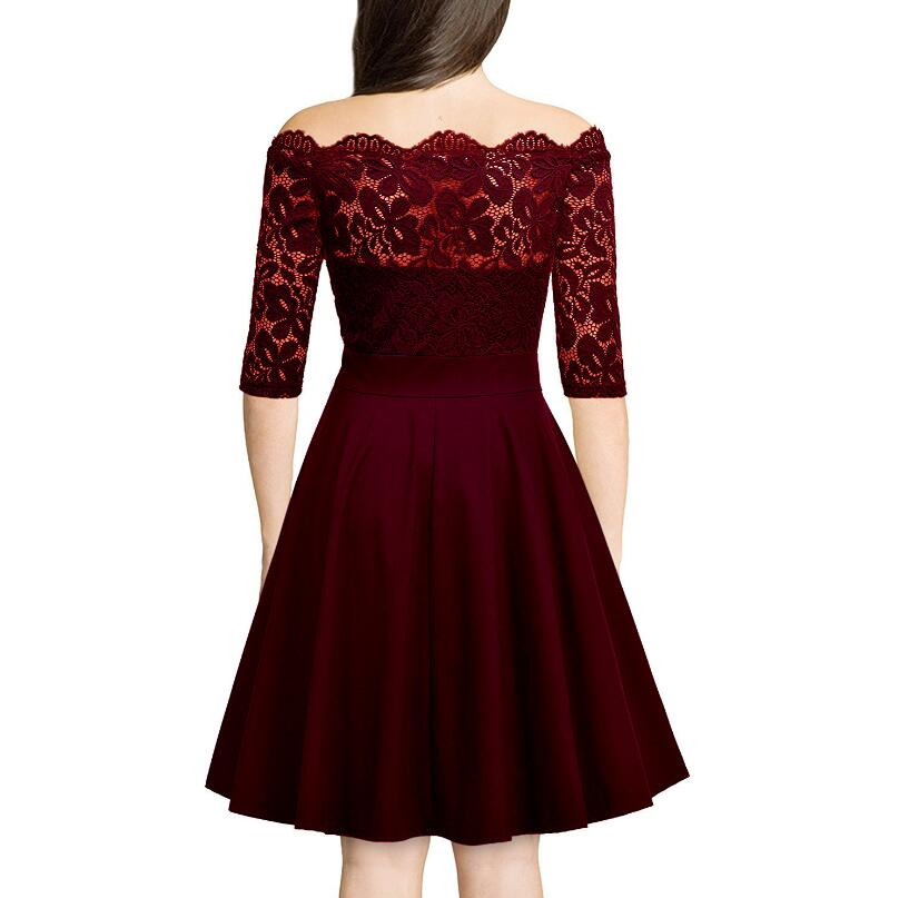 2018 Europe Fashion new Lace Dress Work Casual Slim Off Shoulder Sexy Hollow Out Dresses Women A-line Elegant Vestidos w836