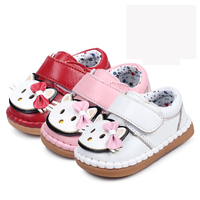 Leather Fitst Walker Infant Toddler Baby Shoes Spring Autumn Cute Cat Pattern Kids Shoes Infants Soft
