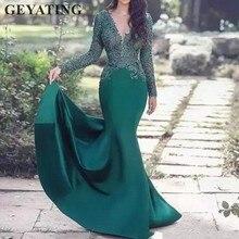 Hunter Green Long Sleeves Arabic Evening Dress 2019 Sexy V-N