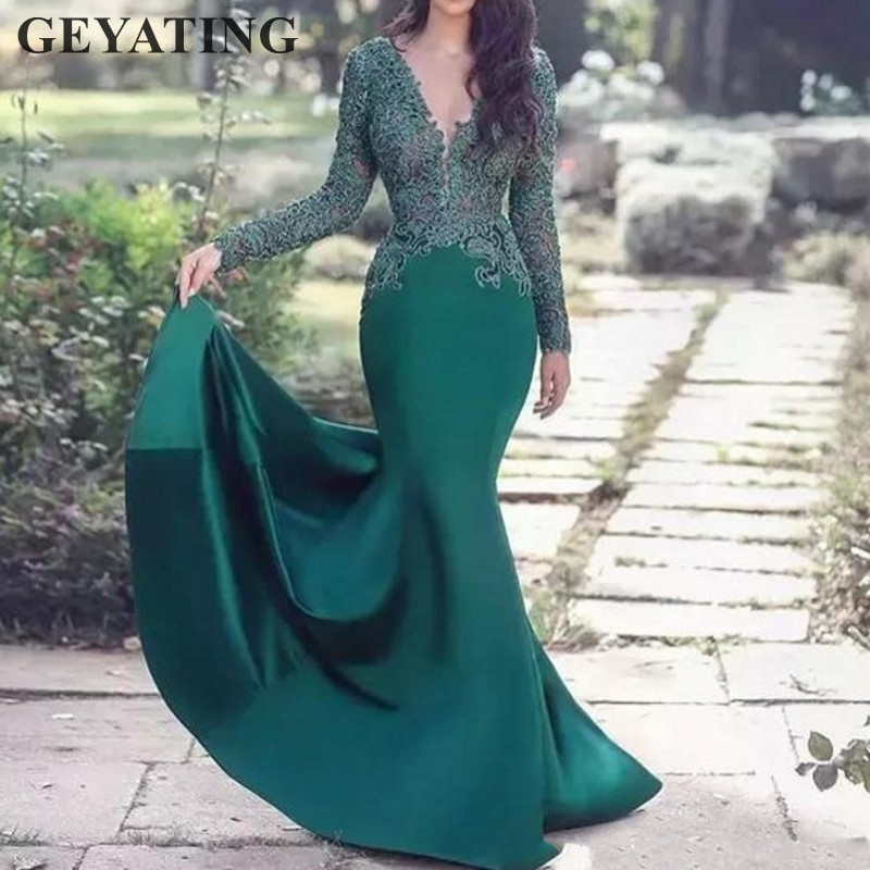 Hunter Green Long Sleeves Arabic   Evening     Dress   2019 Sexy V-Neck Lace Mermaid Prom   Dresses   in Dubai Robe De Soiree Formal Gowns