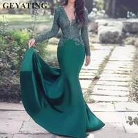 Hunter Green Long Sleeves Arabic Evening Dress 2019 Sexy V Neck Lace Mermaid Prom Dresses in Dubai Robe De Soiree Formal Gowns