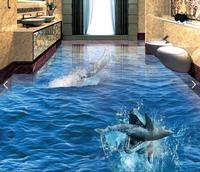 3 d pvc flooring custom waterproof picture 3d Sharks eat dolphins sea world 3d bathroom flooring photo 3d wall murals wallpaper