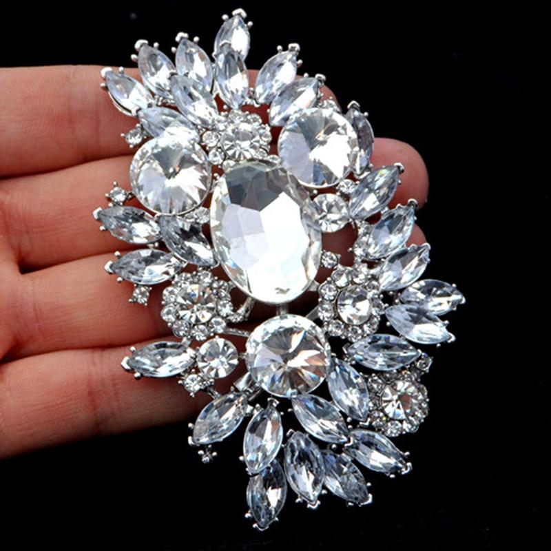 3.6 Inch Huge Brooch Silver Color Luxury Big Glass Crystals Flower Wedding Bouquet Brooch Pins Elegant Jewelry Brooch cactus brooch