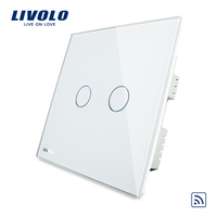 Free Shpping Livolo VL C302R 61 100 Hot Sale Ivory White Crystal Glass Panel Wireless Remote