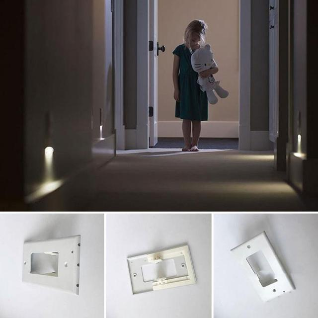3 Led Decor Night Angel Light Plug Cover Wall Outlet Hallway Bedroom Safety Lamp 0 5w