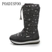 POADISFOO 35 43 Women Boots Plush Warm Snow Boots Ladies Winter Ankle Boots Waterproof Snow Botas