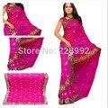 Национальный индийская одежда вышивка сари платье классический жоржет блестка Saree топ размер настроить 13 цветов бесплатная доставка