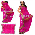 Nacional indio ropa bordado Sari clásico vestido del Georgette Paillette Sari superior tamaño personalizar 13 colores liberan el envío