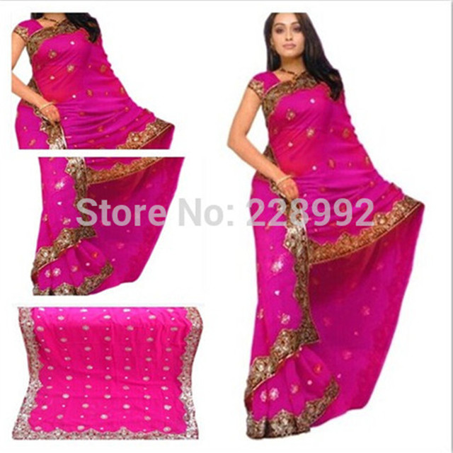 4d2e6fe26b National Indian clothing Embroidery Sari dress Classic Georgette Paillette  Saree Top Size customize 13Colors Free Shipping