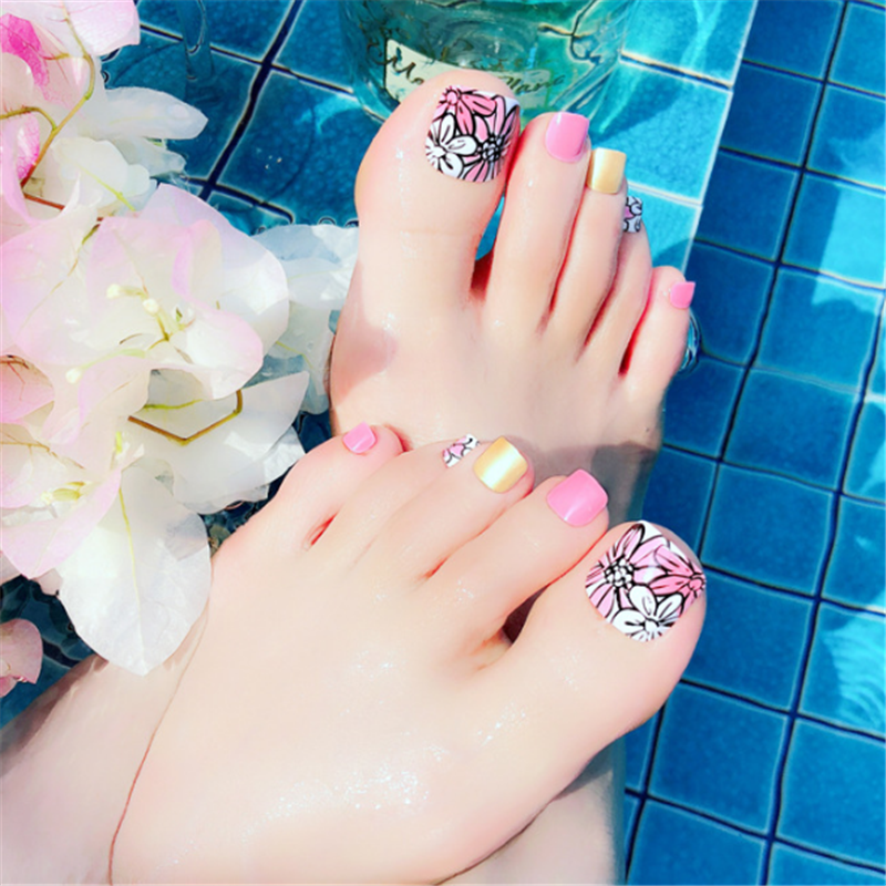 Japanese Flowers Designs Faux Ongles For Feet Pink Girls Fake Toe Nails For Vacation Kiss Impress Press On Toenails
