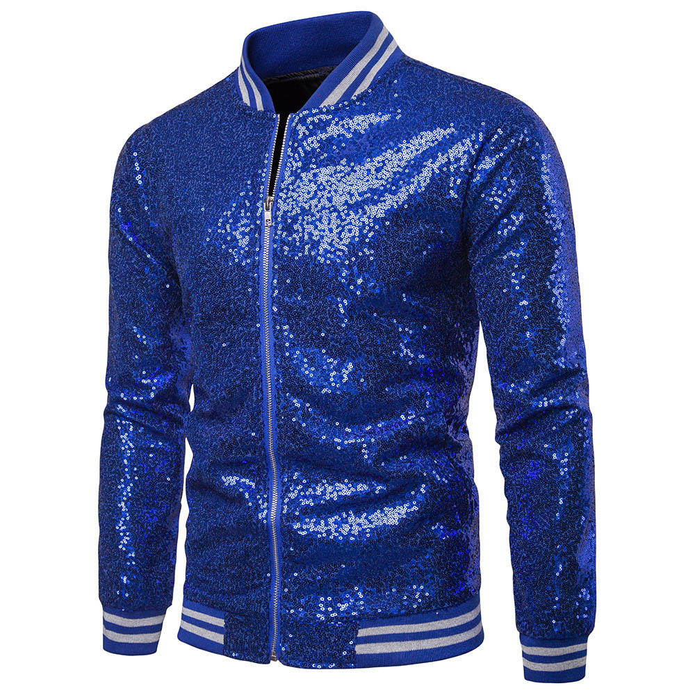 2019 Mens Sequined Blazers Performance Show Host Zipper Blazer Coat Wedding Outwears Tuxedo Suit Coat For Men