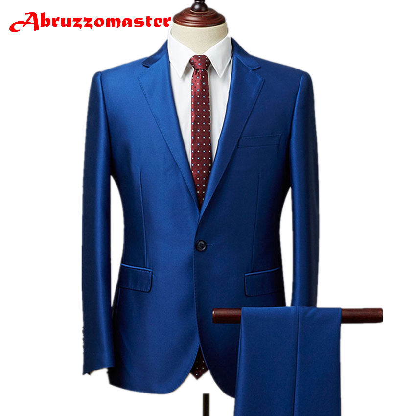 Abruzzomaster Royal Blue Glossy Men's Suits Shiny Groom Suits 2 Pieces Tuxedos Jacket and Pant Custom Made Man Suit Tailor Suit