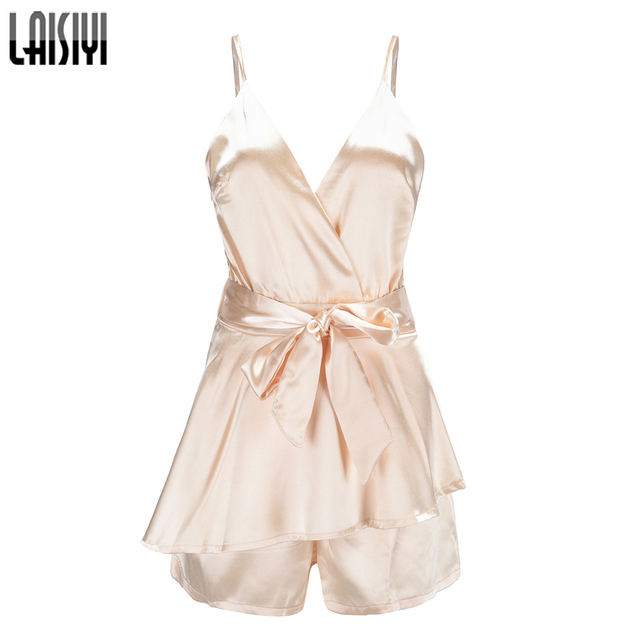 be090e487759 LAISIYI Fashion Ruffle Jumpsuit Short Elegant Sleeveless V-neck Bohemian  Summer Sexy Playsuit Women Rompers Boho Gold ASJU20263