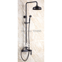 L15856 Luxury Wall Mounted Black Color Brass Rainfall Shower Column
