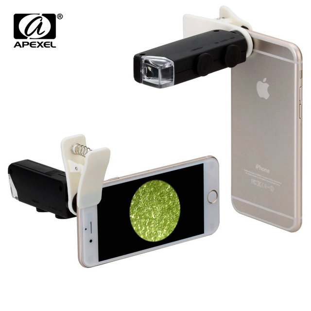 Apexel Magnification 60X to 100X Universal Clip LED Pocket Mini Jewellery Magnifier Glass Loupe Eye Lens for IPhone Samsung