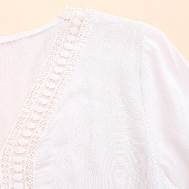2017 bohemian style kobiety lato white dress sexy dorywczo v szyi 3/4 flare rękaw koronki szydełko loose mini sukienki plażowe vestidos 12
