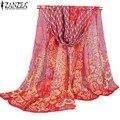 2016 Spring ZANZEA Women Bohemina Peacock Printed Soft Silk Chiffon Neck Scarf Wrap Shawl Stole Elegant Scarves 5 Colors