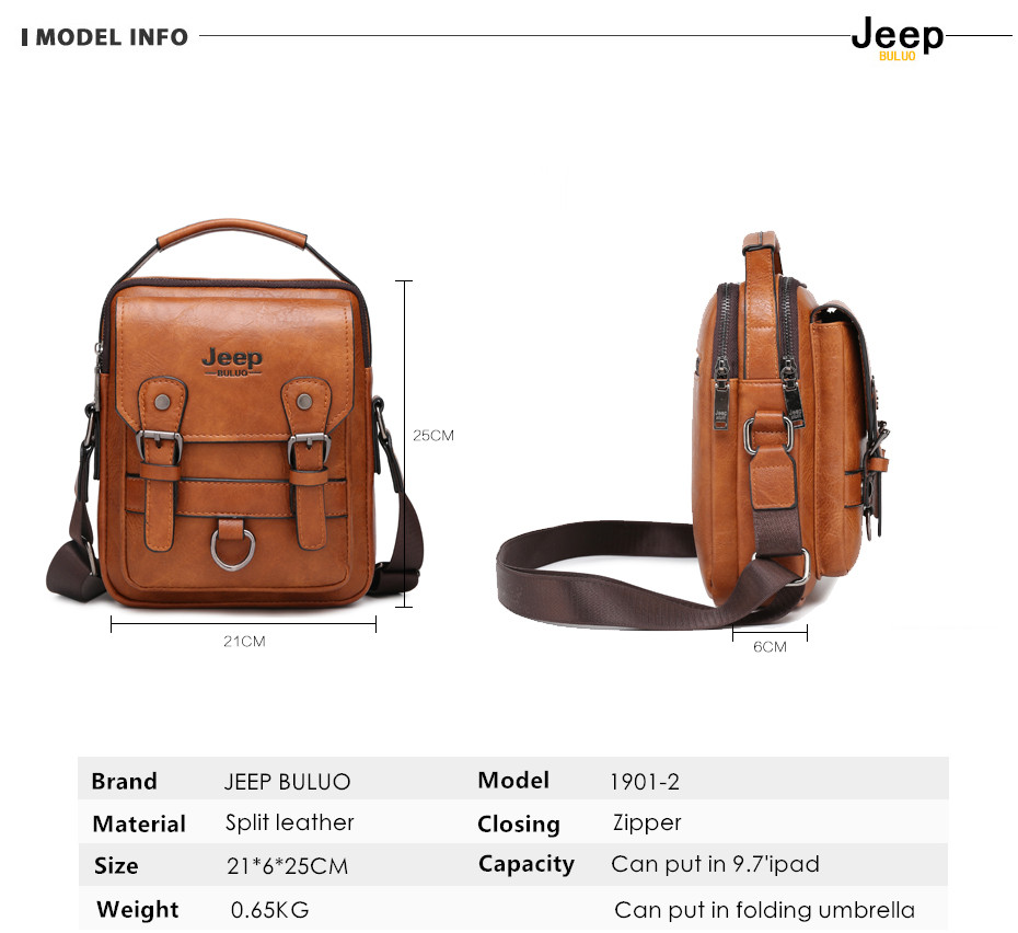 JEEP BULUO Multi-function Men Handbags New Man's Crossbody Shoulder Bag Large Capacity Leather Messenger Bag For Man Travel Cool 4