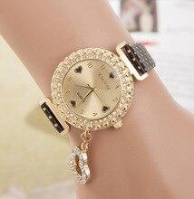 Роскошные Моды Полный Кристалл Алмаза Точка PU Кожаный Сердце Кулон Браслет Наручные Часы для Женщин Дамы Девушки