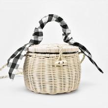 New Rattan Bag Handbag Lattice Silk Scarf Portable Straw Cylinder Small Jar Beach Drop Shipping A4