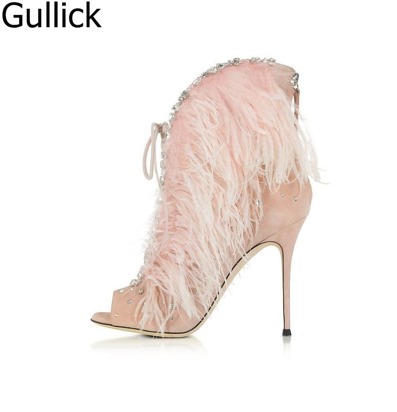 Women Elegant Pink Feathers Peep Toe Sandal Boots Spring Fashion Lace Up Crystal Decoration Ankle Boots Back Zipper High HeelsWomen Elegant Pink Feathers Peep Toe Sandal Boots Spring Fashion Lace Up Crystal Decoration Ankle Boots Back Zipper High Heels