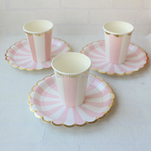 Ipamlay 80pcs Gold Foil And Blush Pink Paper Party Cups Plates Tableware Wedding Shower