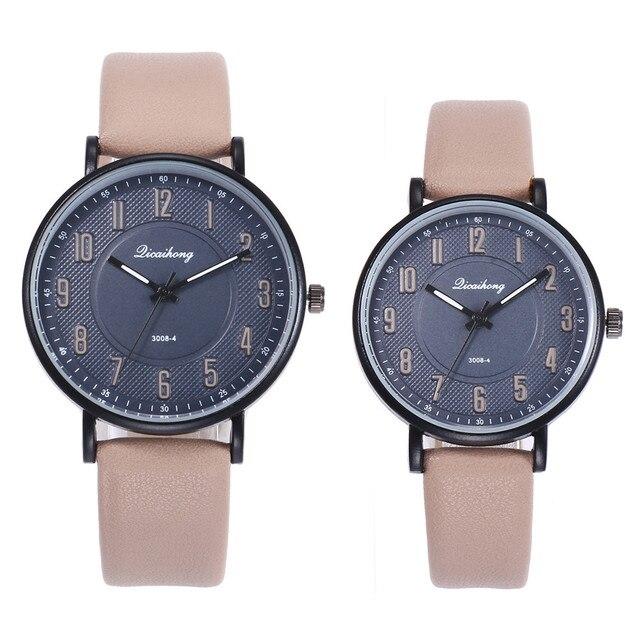 2PCS Couples Fashion Leather Band Analog Quartz Round Wrist Watch Watches Hot Sa