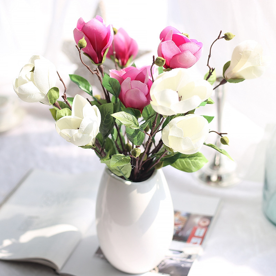 2pcs Nearly Natural Magnolia Silk Flower Nylon Flower Artificial